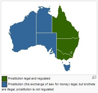 Escort Laws Map of Australia